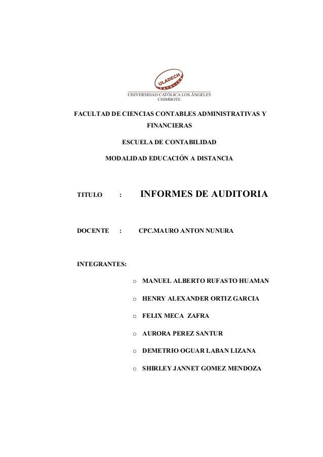 FACULTAD DE CIENCIAS CONTABLES ADMINISTRATIVAS Y FINANCIERAS ESCUELA DE CONTABILIDAD MODALIDAD EDUCACIÓN A DISTANCIA TITUL...
