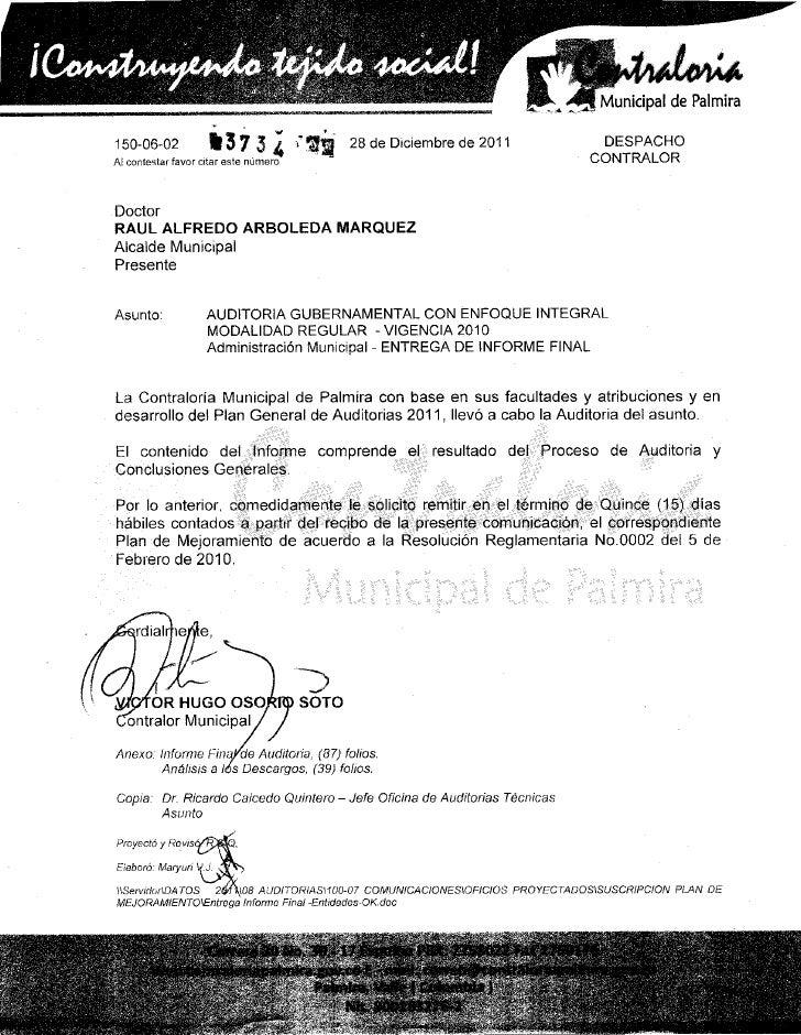 Informe de Auditoria final de la Contraloria Municipal