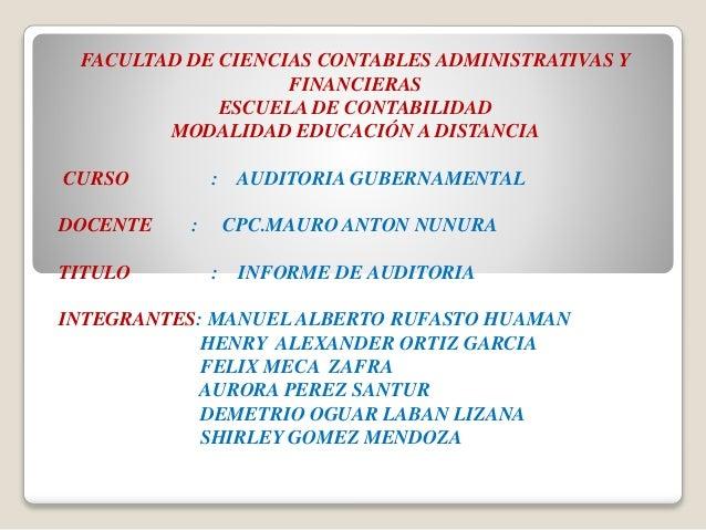 FACULTAD DE CIENCIAS CONTABLES ADMINISTRATIVAS Y FINANCIERAS ESCUELA DE CONTABILIDAD MODALIDAD EDUCACIÓN A DISTANCIA CURSO...