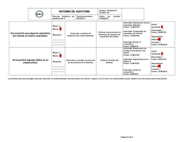 INFORME DE AUDITORÍA Código: FR-SIC-010 Versión: 06 Proceso: Auditoria de sistemas de TI Fecha de emisión: 8/07/2015 Fecha...