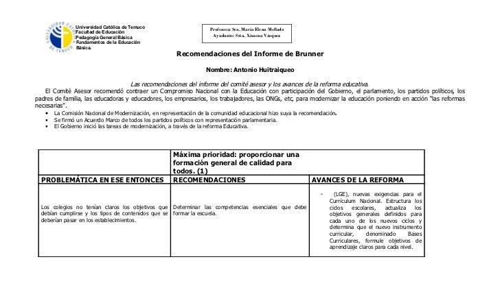 Universidad Católica de Temuco                         Profesora: Sra. María Elena Mellado               Facultad de Educa...
