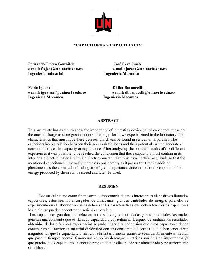"""""""CAPACITORES Y CAPACITANCIA""""    Fernando Tejera González                              José Cera Jinete e-mail: ftejera@uni..."""
