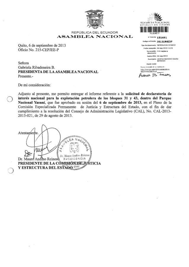 Informe declaratoria Interes Nacional Comisión Justicia