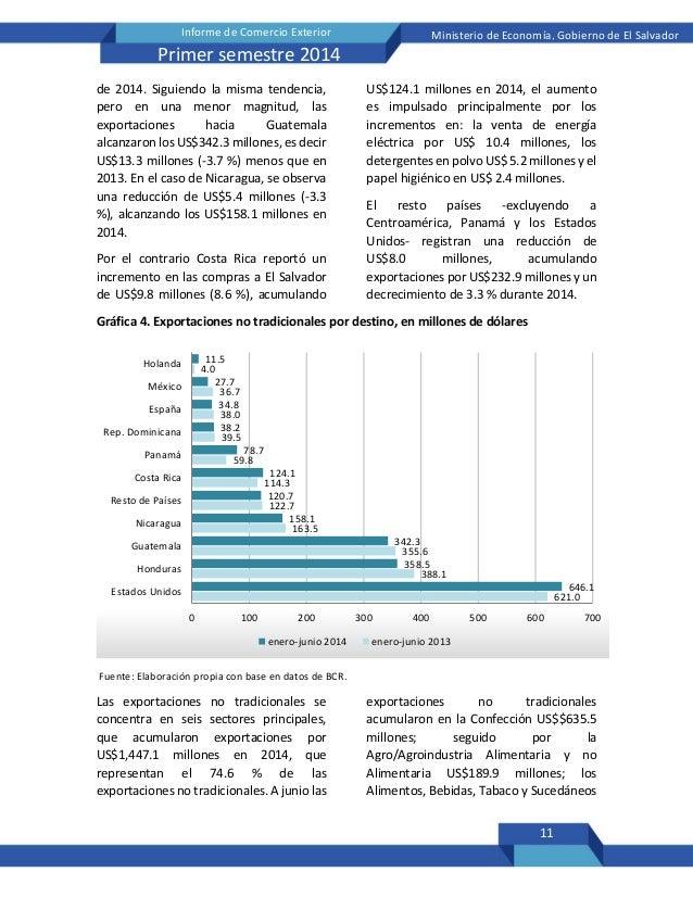 11 Informe de Comercio Exterior Ministerio de Economía, Gobierno de El Salvador Primer semestre 2014 de 2014. Siguiendo la...