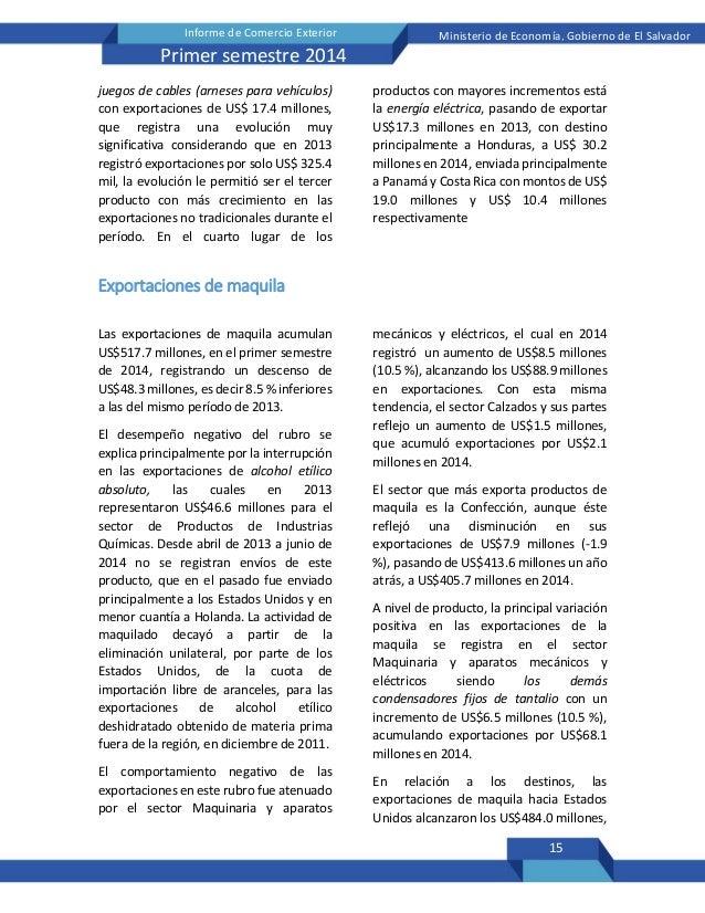 15 Informe de Comercio Exterior Ministerio de Economía, Gobierno de El Salvador Primer semestre 2014 juegos de cables (arn...