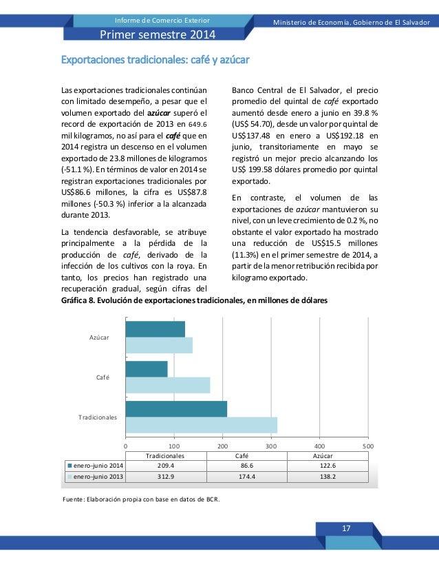 17 Informe de Comercio Exterior Ministerio de Economía, Gobierno de El Salvador Primer semestre 2014 Exportaciones tradici...