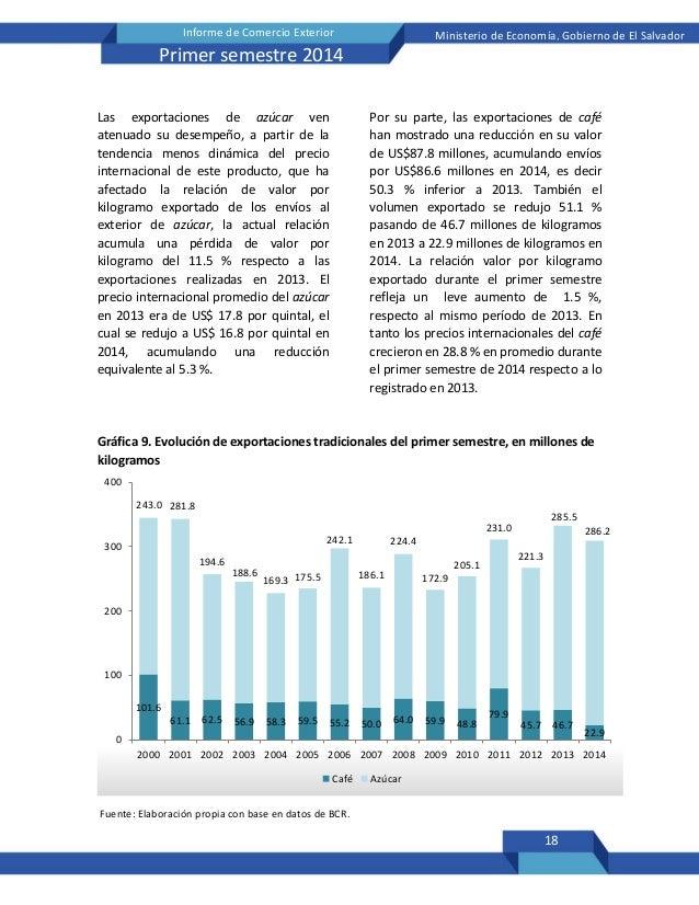 18 Informe de Comercio Exterior Ministerio de Economía, Gobierno de El Salvador Primer semestre 2014 Las exportaciones de ...