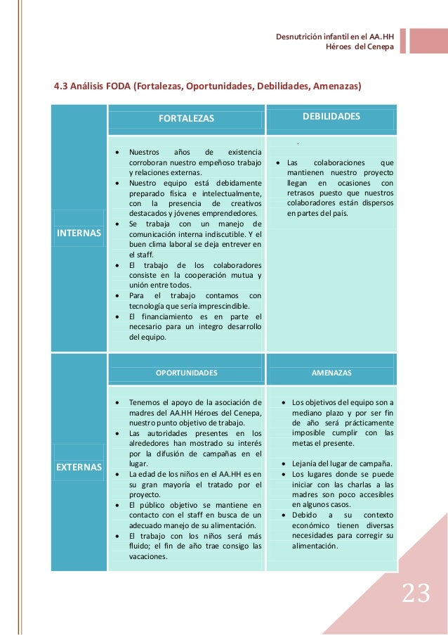 Informe de diagn stico la desnutrici n infantil en el aa for Proyecto de comedor infantil