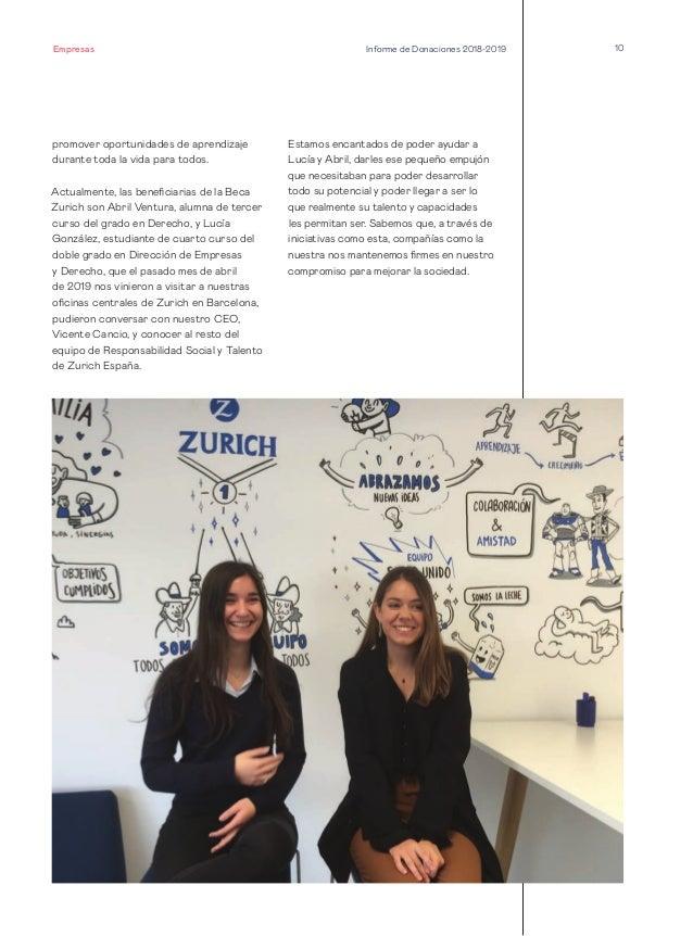 10 promover oportunidades de aprendizaje durante toda la vida para todos. Actualmente, las beneficiarias de la Beca Zurich...