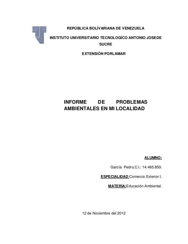 REPÚBLICA BOLÍVARIANA DE VENEZUELAINSTITUTO UNIVERSITARIO TECNOLOGÍCO ANTONIO JOSEDE                       SUCRE          ...