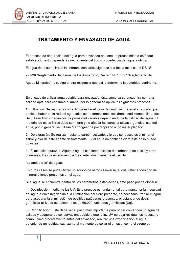 UNIVERSIDAD NACIONAL DEL SANTA                                INFORME DE INTRODUCCIONFACULTAD DE INGENIERÍAINGENIERÍA AGRO...