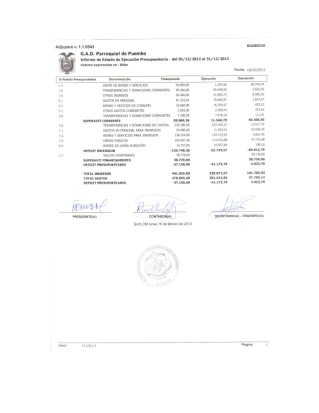 Informe de Estado de Ejecución Presupuestaria 2012