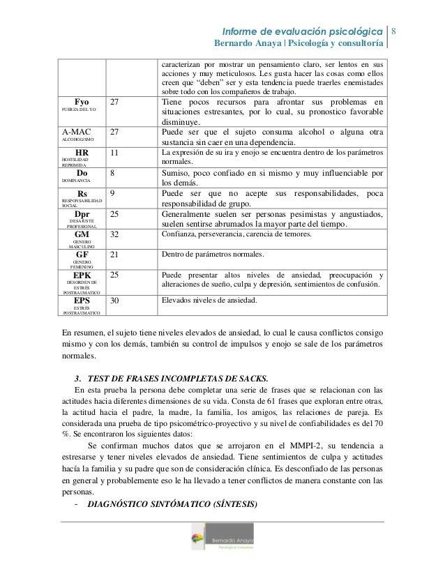 Informe de evaluacion psicologia @ ejemplo