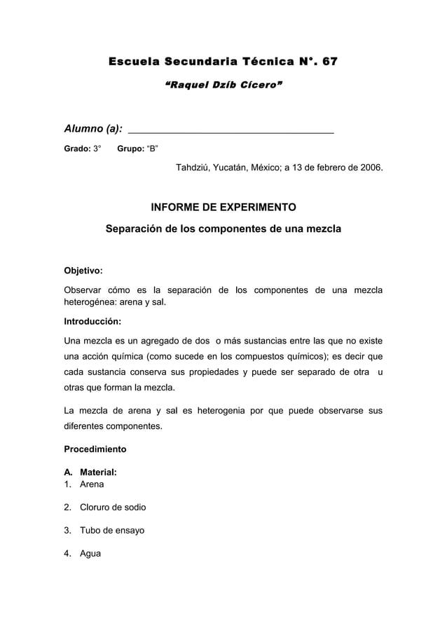 """Escuela Secundaria Técnica N°. 67 """"Raquel Dzíb Cícero"""" Alumno (a): Grado: 3° Grupo: """"B"""" Tahdziú, Yucatán, México; a 13 de ..."""