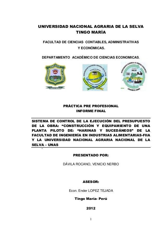 UNIVERSIDAD NACIONAL AGRARIA DE LA SELVA                TINGO MARÍA        FACULTAD DE CIENCIAS CONTABLES, ADMINISTRATIVAS...