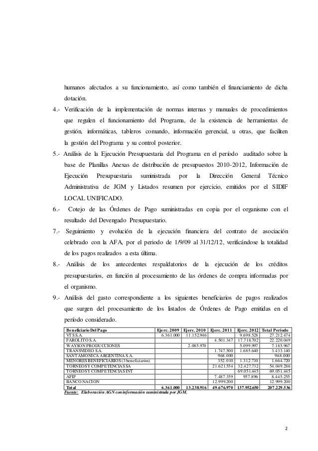 Lapidaria auditoría al Programa Fútbol Para Todos  Slide 2