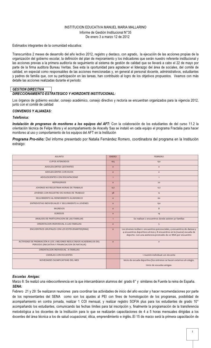 INSTITUCION EDUCATIVA MANUEL MARIA MALLARINO                                                     Informe de Gestión Instit...