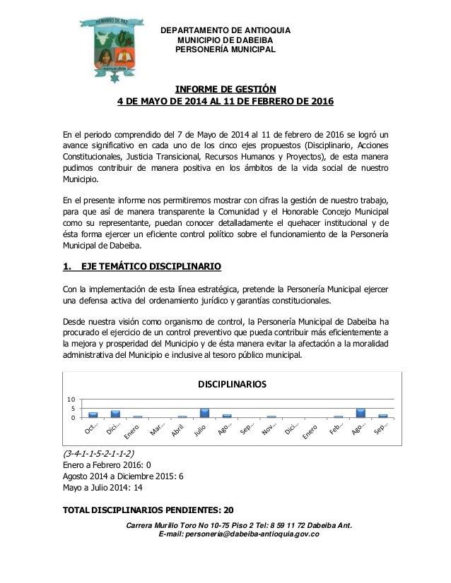 DEPARTAMENTO DE ANTIOQUIA MUNICIPIO DE DABEIBA PERSONERÍA MUNICIPAL Carrera Murillo Toro No 10-75 Piso 2 Tel: 8 59 11 72 D...