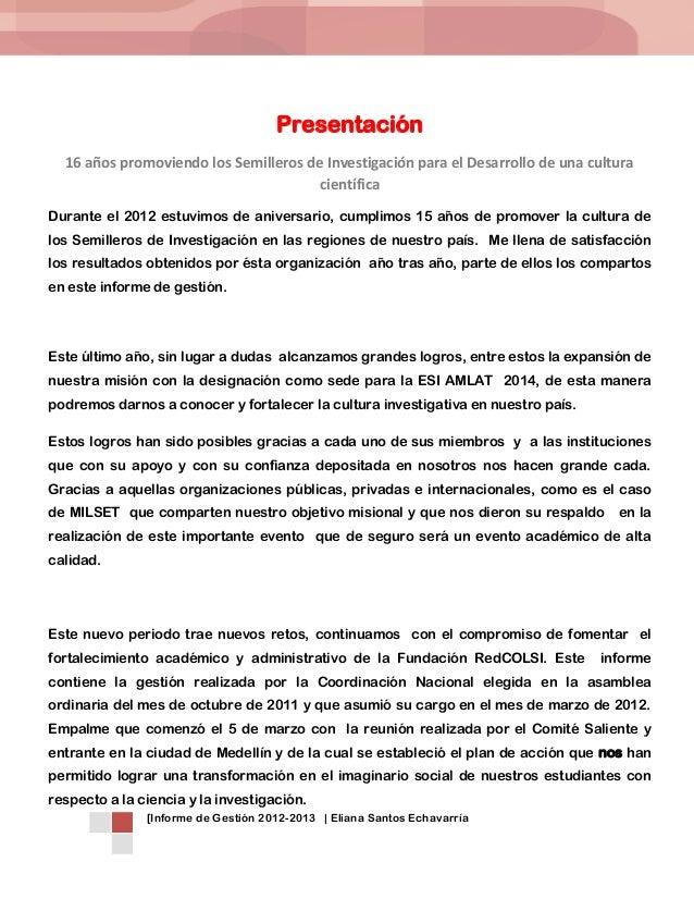 Informe de Gestión Coordinación Nal Eliana Santos Echavarría octubre 2013 Slide 3