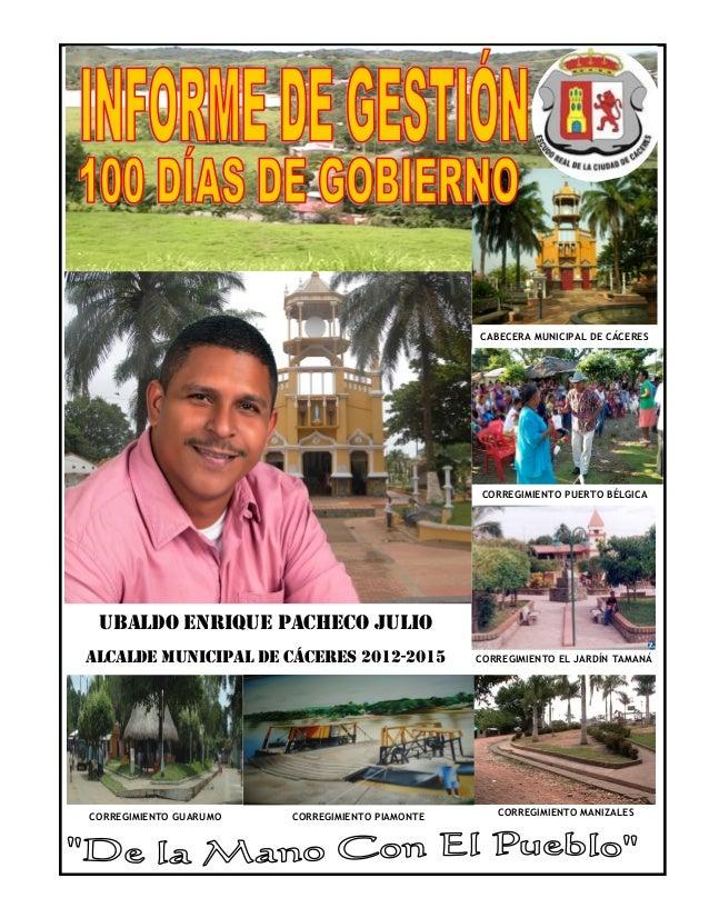 CABECERA MUNICIPAL DE CÁCERES                                                 CORREGIMIENTO PUERTO BÉLGICA UBALDO ENRIQUE ...