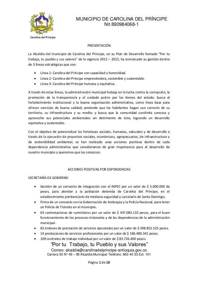 MUNICIPIO DE CAROLINA DEL PRÍNCIPE                                            Nit 890984068-1                             ...