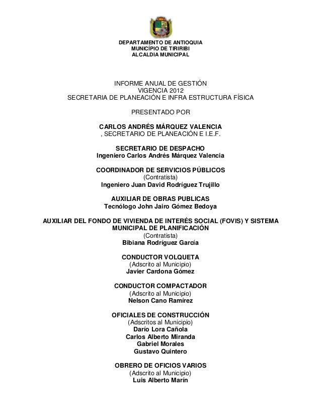 DEPARTAMENTO DE ANTIOQUIA                         MUNICÍPIO DE TIRIRIBI                         ALCALDIA MUNICIPAL        ...