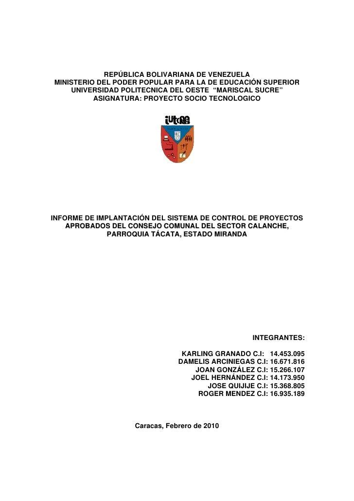 REPÚBLICA BOLIVARIANA DE VENEZUELA MINISTERIO DEL PODER POPULAR PARA LA DE EDUCACIÓN SUPERIOR     UNIVERSIDAD POLITECNICA ...