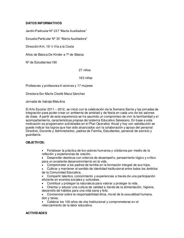 """DATOS INFORMATIVOSJardín:Particular Nº 237 """"María Auxiliadora""""Escuela:Particular Nº 30 """"María Auxiliadora""""Dirección:Km. 19..."""
