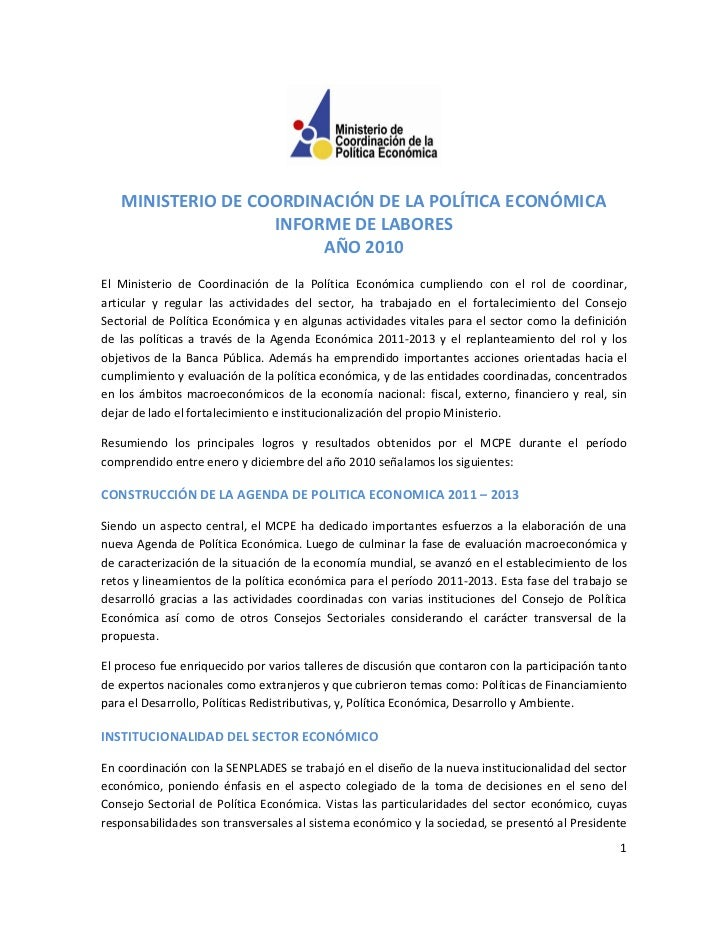 MINISTERIO DE COORDINACIÓN DE LA POLÍTICA ECONÓMICA                   INFORME DE LABORES                        AÑO 2010El...