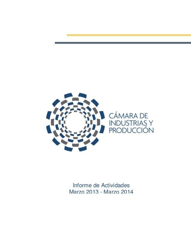 Informe de Actividades Marzo 2013 - Marzo 2014