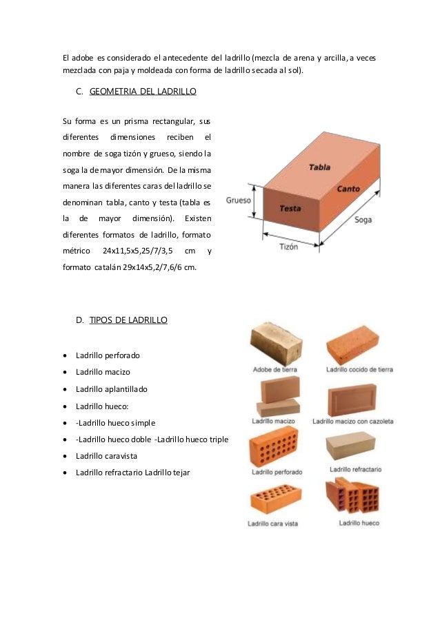 Informe de ladrillo - Medidas ladrillo macizo ...