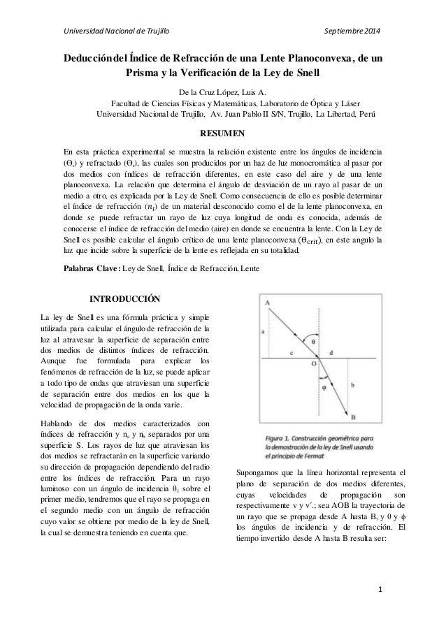 8a60d79811 Universidad Nacional de Trujillo Septiembre 2014 Deducción del Índice de  Refracción de una Lente Planoconvexa, ...