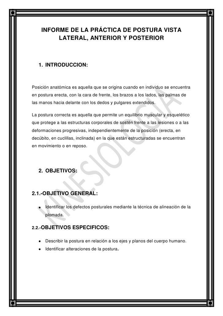 Informe de la práctica de postura vista lateral Slide 2