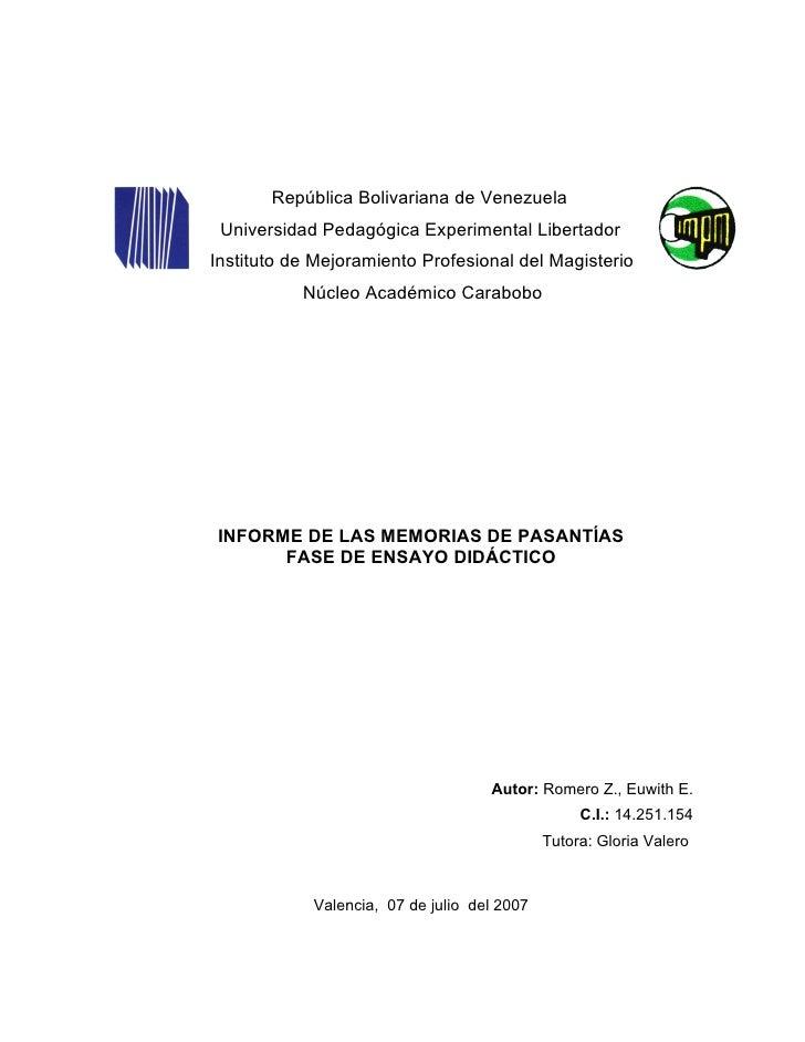 República Bolivariana de Venezuela  Universidad Pedagógica Experimental Libertador Instituto de Mejoramiento Profesional d...