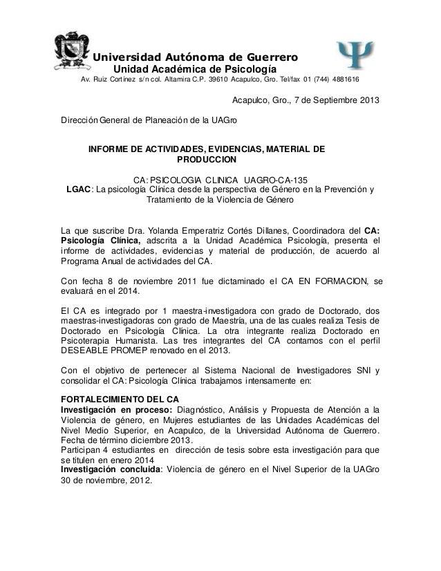 Universidad Autónoma de Guerrero Unidad Académica de Psicología Av. Ruiz Cortínez s/n col. Altamira C.P. 39610 Acapulco, G...