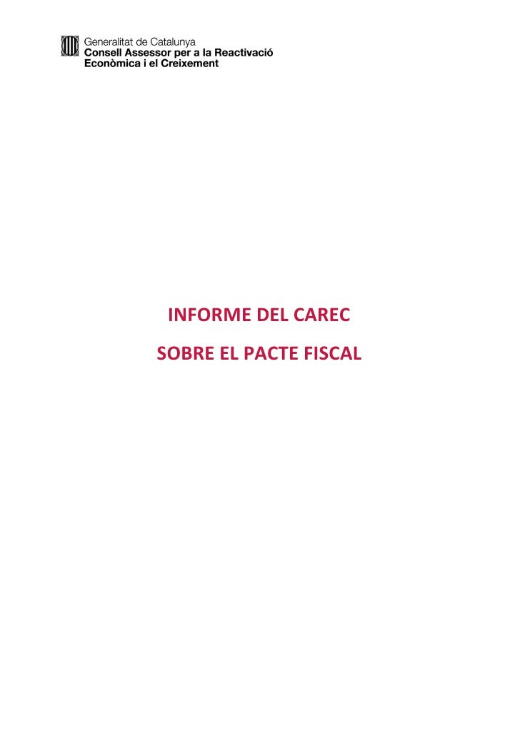 INFORME DEL CARECSOBRE EL PACTE FISCAL