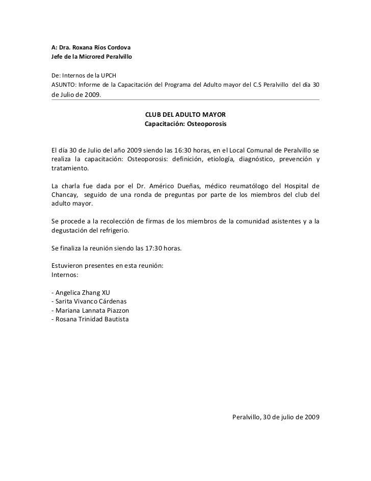 A: Dra. Roxana Ríos Cordova Jefe de la Microred Peralvillo  De: Internos de la UPCH ASUNTO: Informe de la Capacitación del...