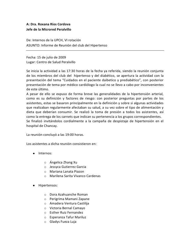 A: Dra. Roxana Ríos Cordova<br />Jefe de la Microred Peralvillo<br />De: Internos de la UPCH, VI rotación<br />ASUNTO: Inf...