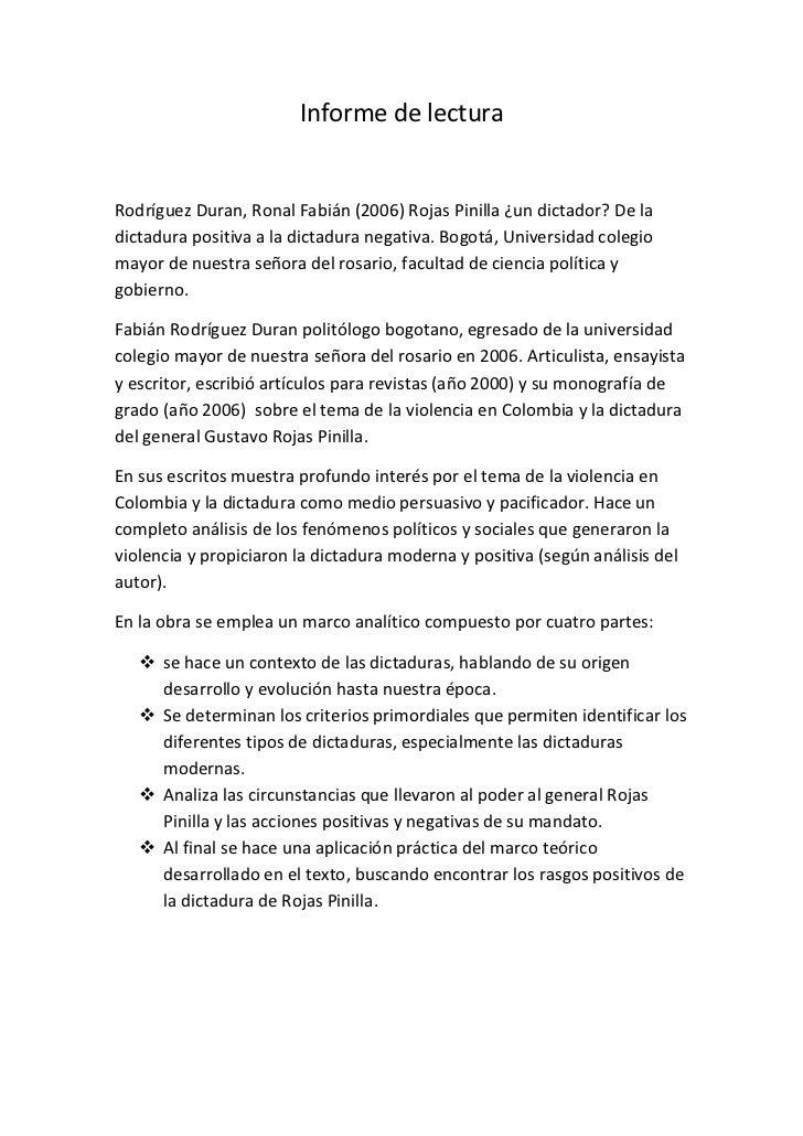 Informe de lectura<br />Rodríguez Duran, Ronal Fabián (2006) Rojas Pinilla ¿un dictador? De la dictadura positiva a la dic...