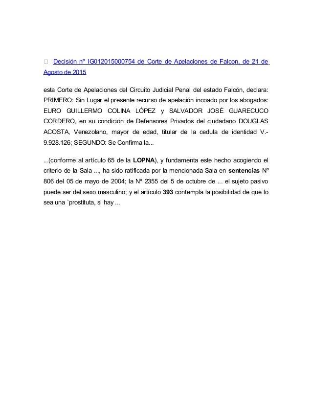 Circuito Judicial Penal : Informe de legislación penal