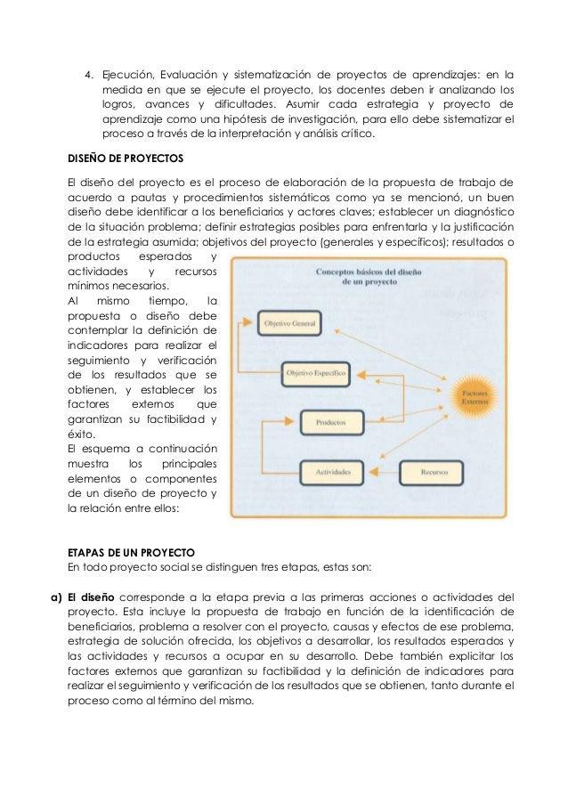 4. Ejecución, Evaluación y sistematización de proyectos de aprendizajes: en la medida en que se ejecute el proyecto, los d...