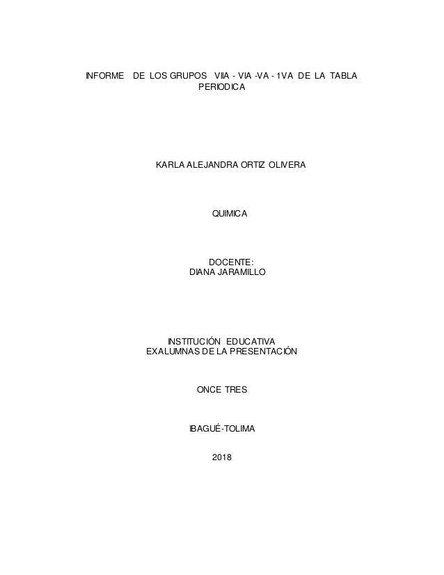 Informe de los grupos de la tabla periodica informe de los grupos vlla vla va 1va de la tabla periodica karla urtaz Choice Image