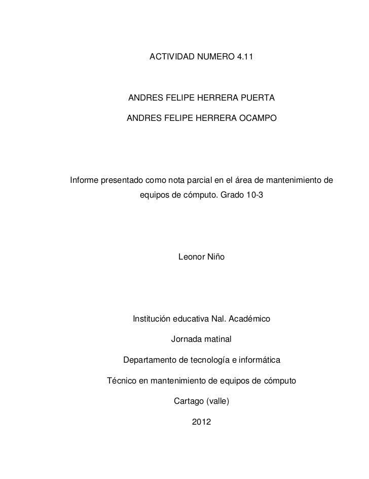 ACTIVIDAD NUMERO 4.11              ANDRES FELIPE HERRERA PUERTA              ANDRES FELIPE HERRERA OCAMPOInforme presentad...