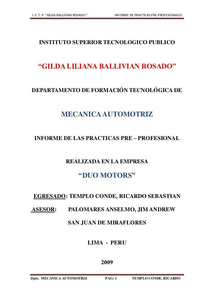 """INSTITUTO SUPERIOR TECNOLOGICO PUBLICO<br />""""GILDA LILIANA BALLIVIAN ROSADO""""<br />DEPARTAMENTO DE FORMACIÓN TECNOLÓGICA DE..."""