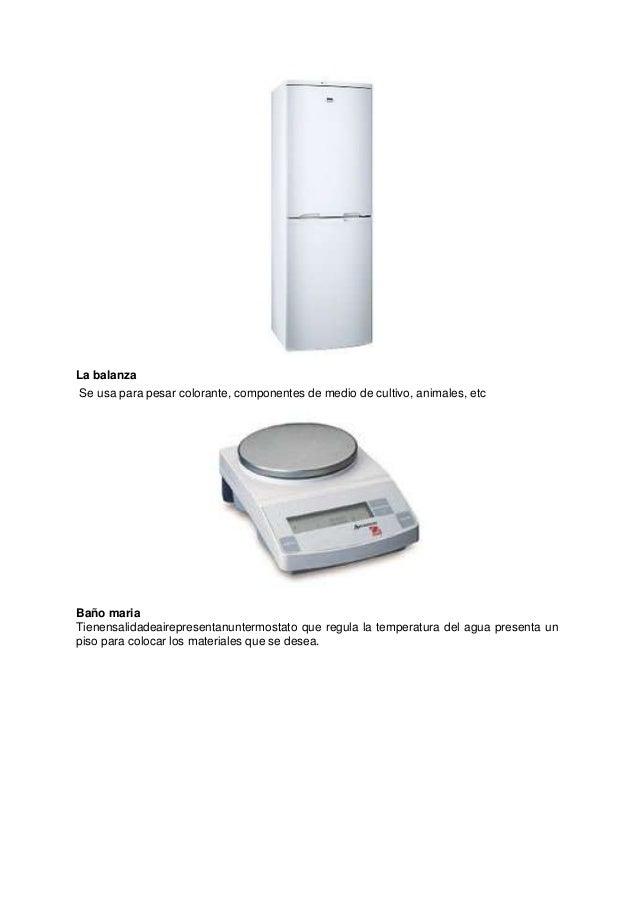 La balanza Se usa para pesar colorante, componentes de medio de cultivo, animales, etc  Baño maria Tienensalidadeaireprese...