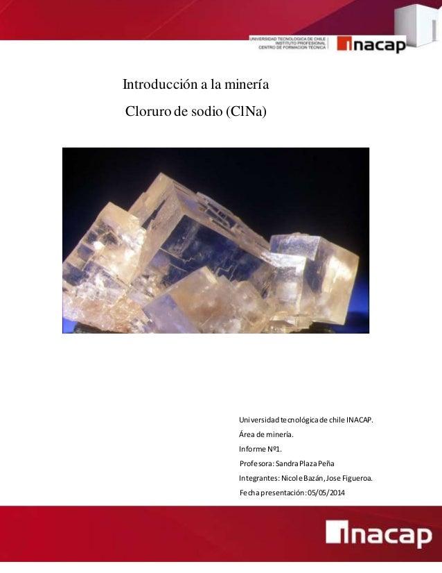 Introducción a la minería Cloruro de sodio (ClNa) Universidadtecnológicade chile INACAP. Área de minería. Informe Nº1. Pro...
