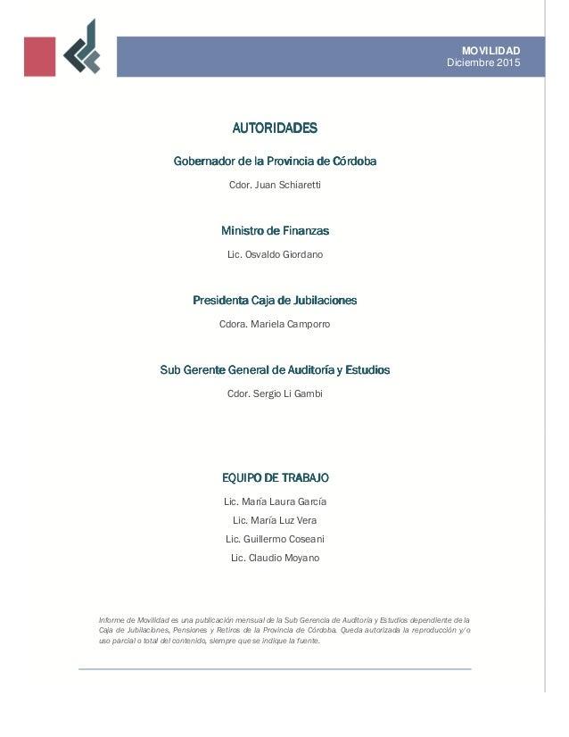 Informe de movilidad / Diciembre 2015 Slide 2