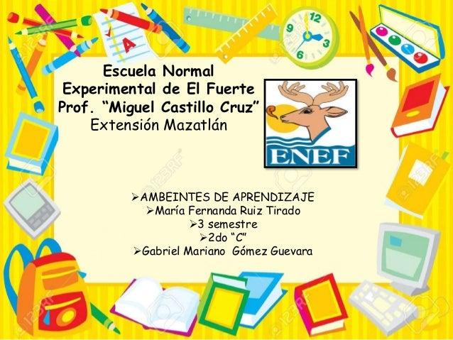 """Escuela Normal Experimental de El Fuerte Prof. """"Miguel Castillo Cruz"""" Extensión Mazatlán AMBEINTES DE APRENDIZAJE María ..."""