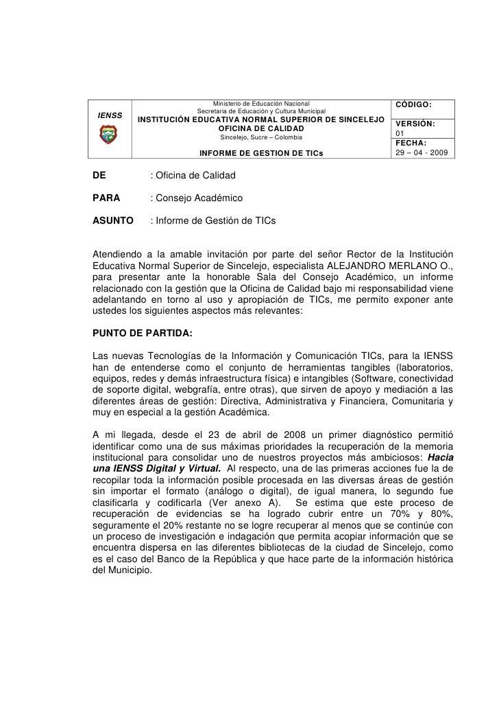 Ministerio de Educación Nacional         CÓDIGO:                         Secretaria de Educación y Cultura Municipal  IENS...