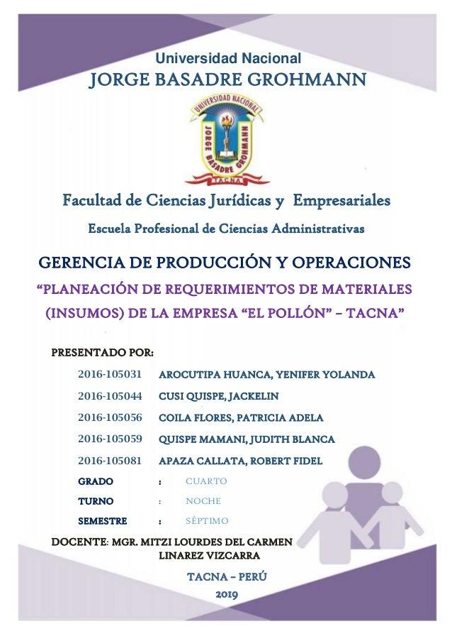 0 Universidad Nacional JORGE BASADRE GROHMANN Facultad de Ciencias Jurídicas y Empresariales Escuela Profesional de Cienci...